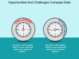 Opportunities And Challenges Compass Dials Powerpoint Layout