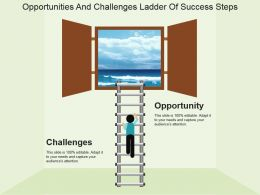 Opportunities And Challenges Ladder Of Success Steps Powerpoint Show
