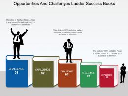 Opportunities And Challenges Ladder Success Books Powerpoint Slide Clipart