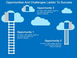 Opportunities And Challenges Ladder To Success Powerpoint Slide Deck
