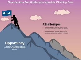 Opportunities And Challenges Mountain Climbing Goal Powerpoint Slide Deck Samples