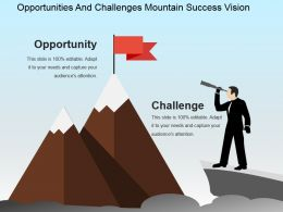 Opportunities And Challenges Mountain Success Vision Powerpoint Slide Deck Template