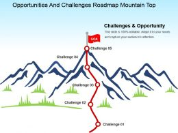 Opportunities And Challenges Roadmap Mountain Top Powerpoint Slide Images