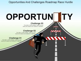Opportunities And Challenges Roadmap Race Hurdle Powerpoint Slide Influencers