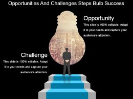 Opportunities And Challenges Steps Bulb Success Powerpoint Slide Show