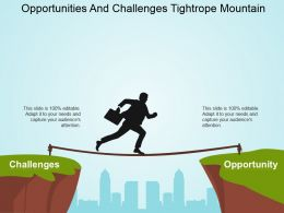 Opportunities And Challenges Tightrope Mountain Powerpoint Slide Templates