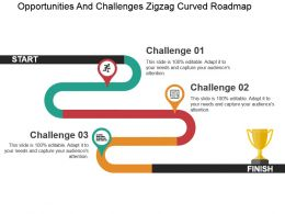 Opportunities And Challenges Zigzag Curved Roadmap Powerpoint Slide Themes