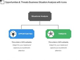 Opportunities And Threats Business Situation Analysis With Icons