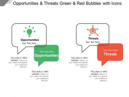 Opportunities And Threats Green And Red Bubbles With Icons