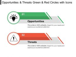 Opportunities And Threats Green And Red Circles With Icons