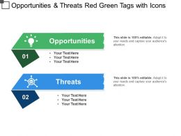Opportunities And Threats Red Green Tags With Icons