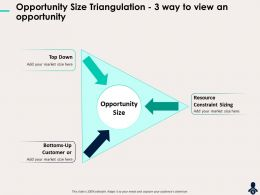 Opportunity Size Triangulation 3 Way To View An Opportunity Constraint Ppt Icon