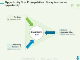 Opportunity Size Triangulation 3 Way To View An Opportunity Down Ppt Powerpoint Presentation