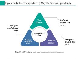 Opportunity Size Triangulation 3 Way To View An Opportunity Ppt Styles Graphics