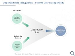 Opportunity Size Triangulation 3 Way To View An Opportunity Resource Powerpoint Slides