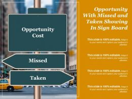 Opportunity With Missed And Taken Showing In Sign Board