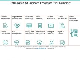 Optimization Of Business Processes Ppt Summary
