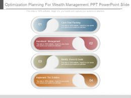 Optimization Planning For Wealth Management Ppt Powerpoint Slide