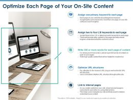 Optimize Each Page Of Your On Site Content Intuitive Ppt Powerpoint Presentation Demonstration
