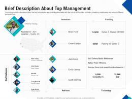 Optimizing Endgame Brief Description About Top Management Ppt Powerpoint Examples