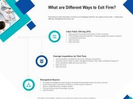 Optimizing Endgame What Are Different Ways To Exit Firm Ppt Powerpoint Styles