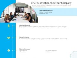 Optimizing It Services For Better Customer Retention Brief Description About Our Company Ppt Template