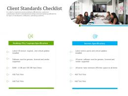 Optimizing It Services For Better Customer Retention Client Standards Checklist Ppt Template