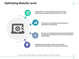 Optimizing Maturity Level Quantitative Improvements Ppt Powerpoint Presentation Slides Icons