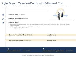 Optimizing Tasks And Agile Project Overview Details With Estimated Cost Ppts Tips
