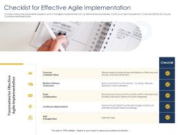 Optimizing Tasks And Checklist For Effective Agile Implementation Improvement Ppts Picture
