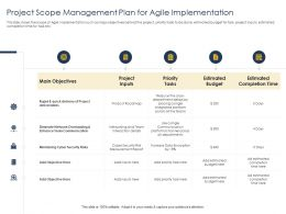 Optimizing Tasks And Project Scope Management Plan For Agile Implementation Ppts Slides