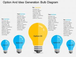 option_and_idea_generation_bulb_diagram_flat_powerpoint_design_Slide01