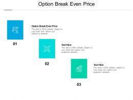 Option Break Even Price Ppt Powerpoint Presentation Icon Graphic Tips Cpb