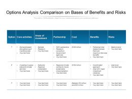 Options Analysis Comparison On Bases Of Benefits And Risks