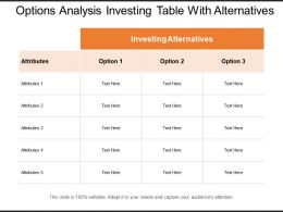 Options Analysis Investing Table With Alternatives
