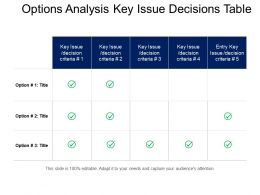 Options Analysis Key Issue Decisions Table