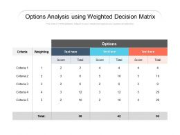 Options Analysis Using Weighted Decision Matrix