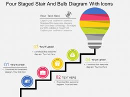 oq Four Staged Stair And Bulb Diagram With Icons Flat Powerpoint Design