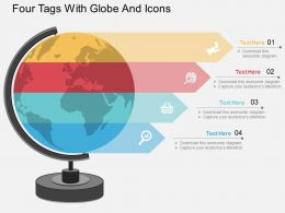 or Four Tags With Globe And Icons Flat Powerpoint Design