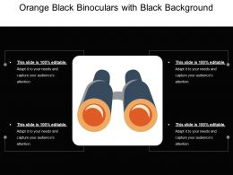 Orange Black Binoculars With Black Background