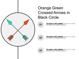 Orange Green Crossed Arrows In Black Circle