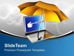 Orange Umbrella With Laptop Security Powerpoint Templates Ppt Themes And Graphics 0213