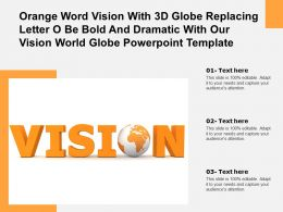 Orange Word Vision With 3d Globe Replacing Letter O Be Bold Dramatic With Our Vision World Globe Template