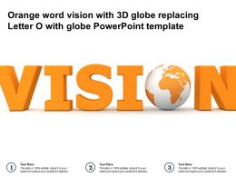 Orange Word Vision With 3d Globe Replacing Letter O With Globe Powerpoint Template