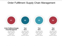 Order Fulfillment Supply Chain Management Ppt Powerpoint Presentation Image Cpb