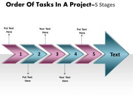 Order Of Tasks In Project 5 Stages Proto Typing Powerpoint Templates
