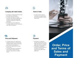 Order Price And Terms Of Sales And Payment Ppt Powerpoint Presentation Styles Layout