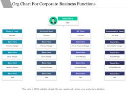 Org Chart For Corporate Business Functions