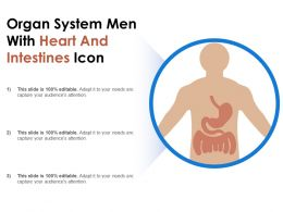 Organ System Men With Heart And Intestines Icon