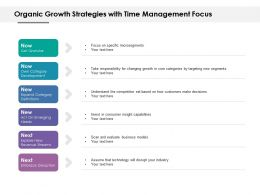 Organic Growth Strategies With Time Management Focus